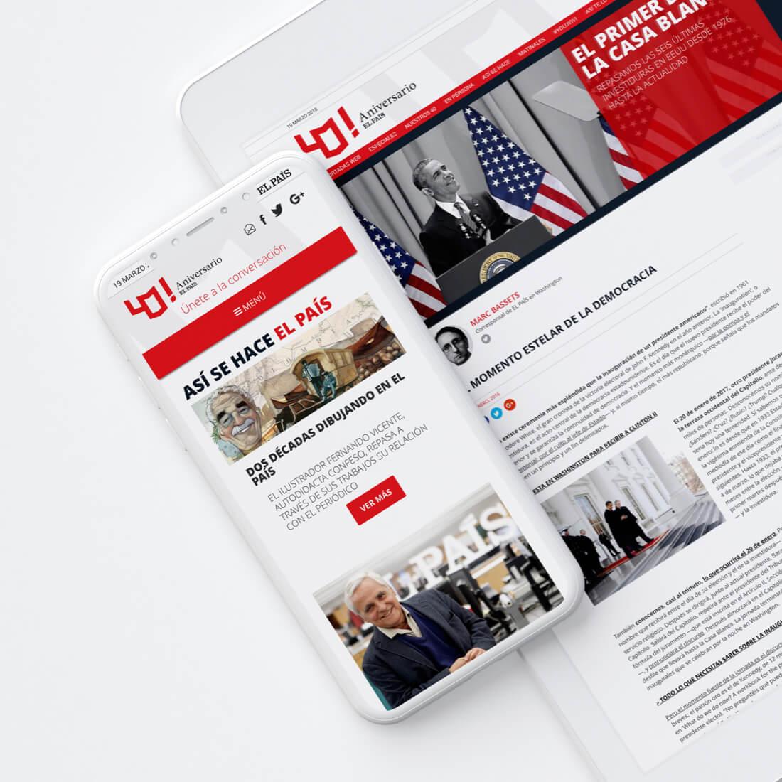 Desarrollo de la web del 40 Aniversario de El País
