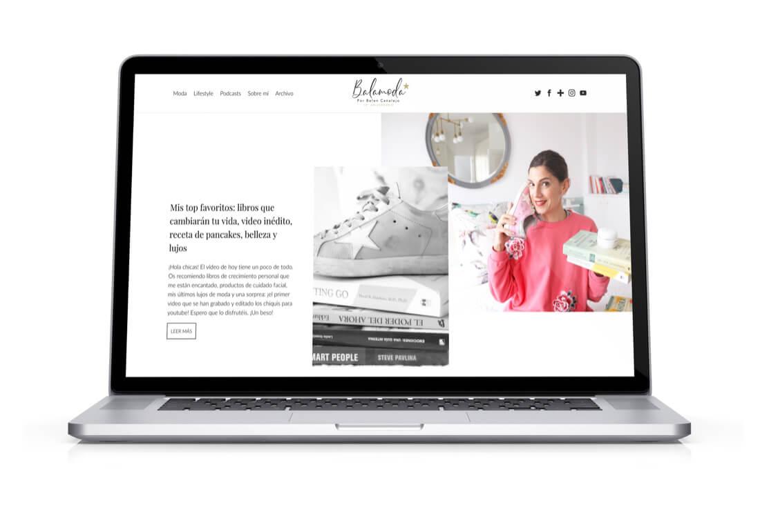 Diseño y desarrollo web del blog Balamoda portátil