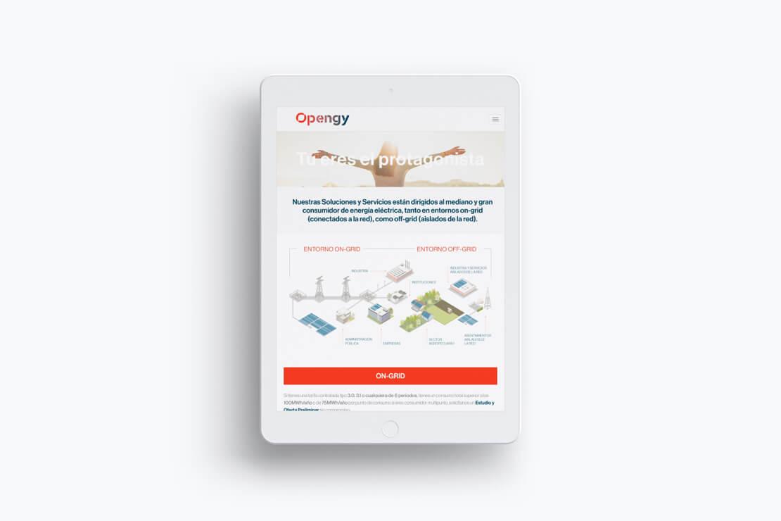 Desarrollo de la web de Opengy - Versión ipad