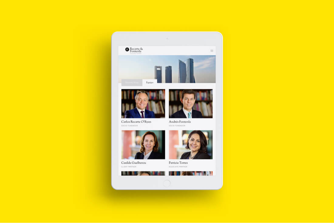 Recarte & Fontenla Executive Search Desarrollo web Tablet