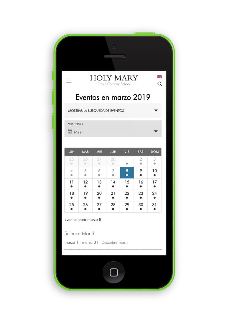 Nueva web de Holy Mary Catholic School Calendario
